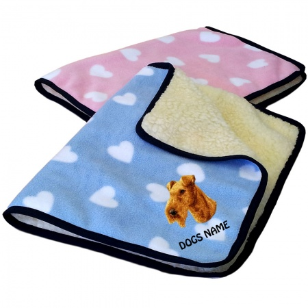Irish Terrier Personalised Luxury Fleece Dog Blankets Heart Design