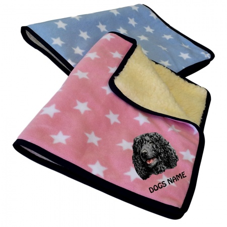 Irish Water Spaniel Personalised Luxury Fleece Dog Blankets Pale Stars Design