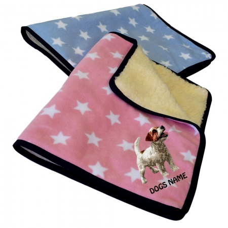 Jack Russell Terrier Personalised Luxury Fleece Dog Blankets Pale Stars Design