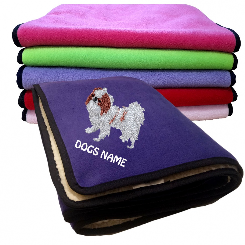 Japanese Chin Personalised Luxury Fleece Dog Blankets Plain Colours
