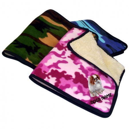 Japanese Chin Personalised Luxury Fleece Dog Blankets Camouflage Design