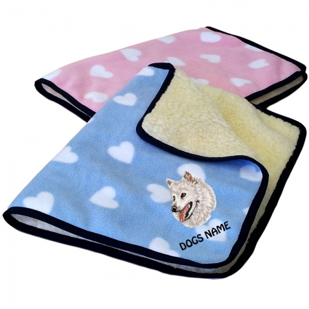 Japanese Spitz Personalised Luxury Fleece Dog Blankets Heart Design