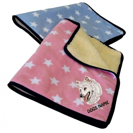 Japanese Spitz Personalised Luxury Fleece Dog Blankets Pale Stars Design