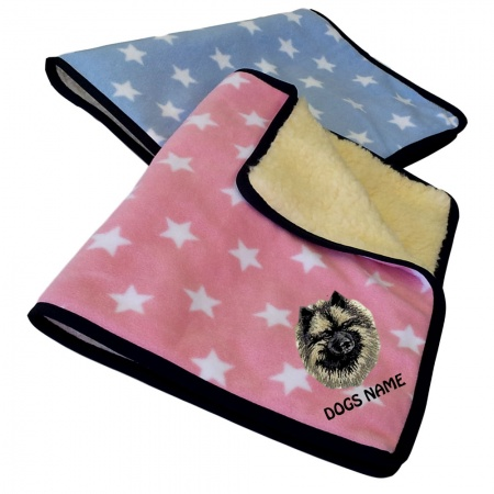 Keeshond Personalised Luxury Fleece Dog Blankets Pale Stars Design