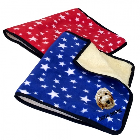 Labradoodle Personalised Luxury Fleece Dog Blankets Bright Stars Design