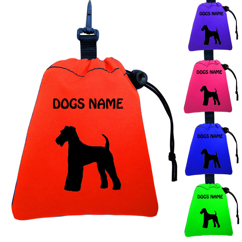 Airedale Terrier Personalised Training Treat Bags - Clips To Dog Lead
