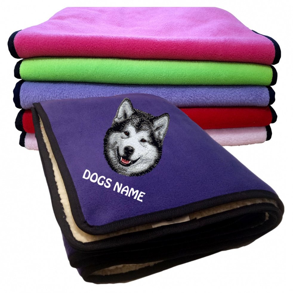 Alaskan Malamute Personalised Luxury Fleece Dog Blankets Plain Colours