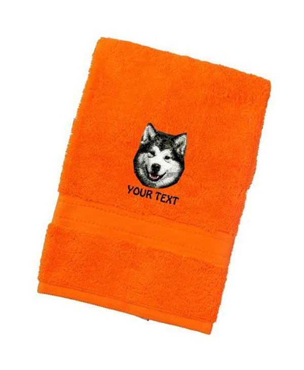 Alaskan Malumute Personalised Dog Towels Luxury Range - Bath Towel