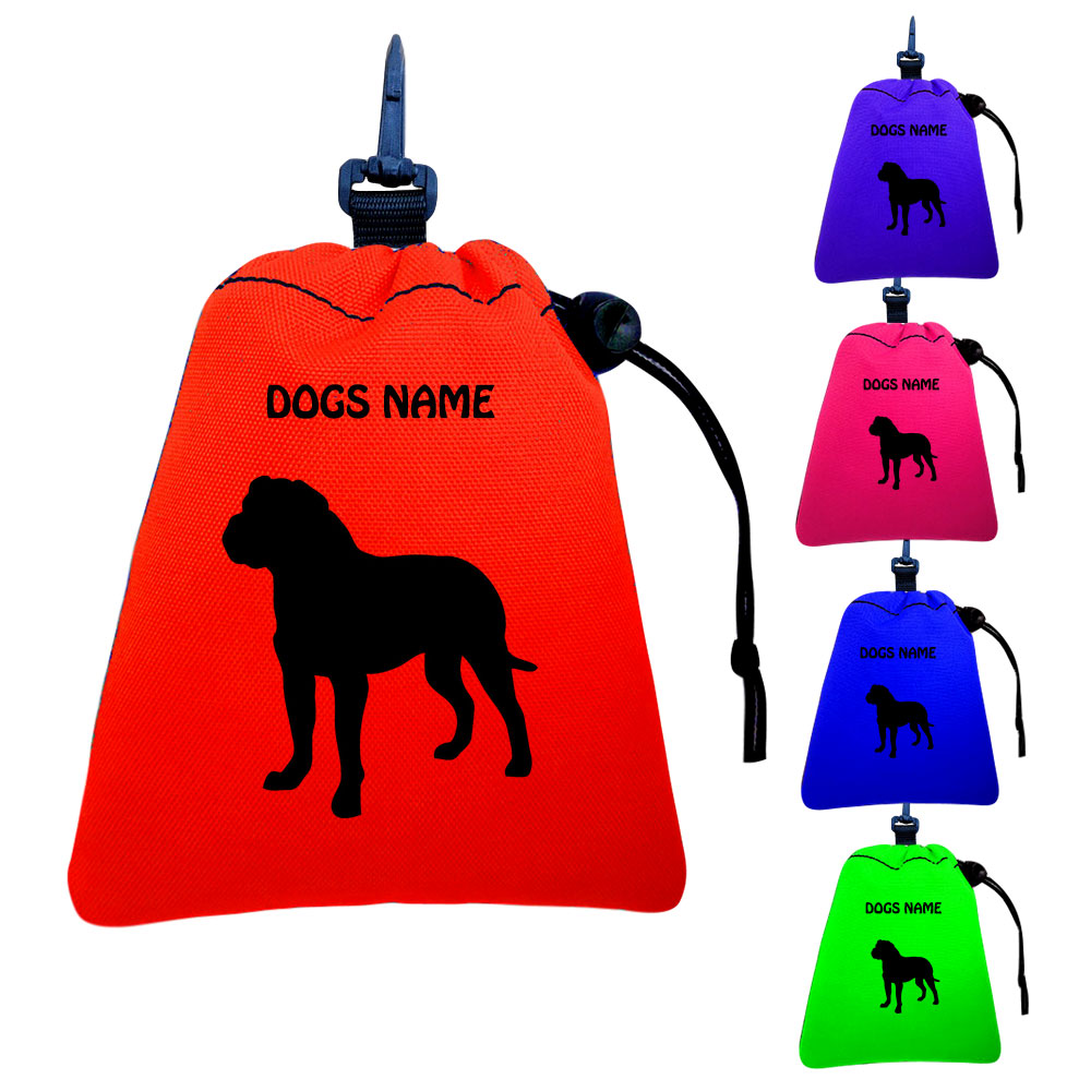 American Bulldog Personalised Training Treat Bags - Clips To Dog Lead