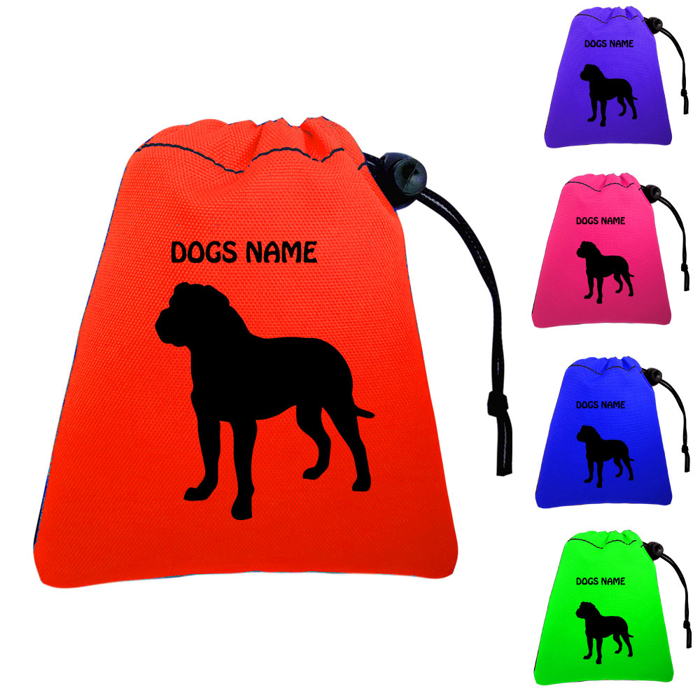 American Bulldog Personalised Training Treat Bags - Clips To Waistband