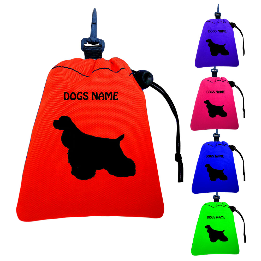 American Cocker Spaniel Personalised Training Treat Bags - Clips To Dog Lead