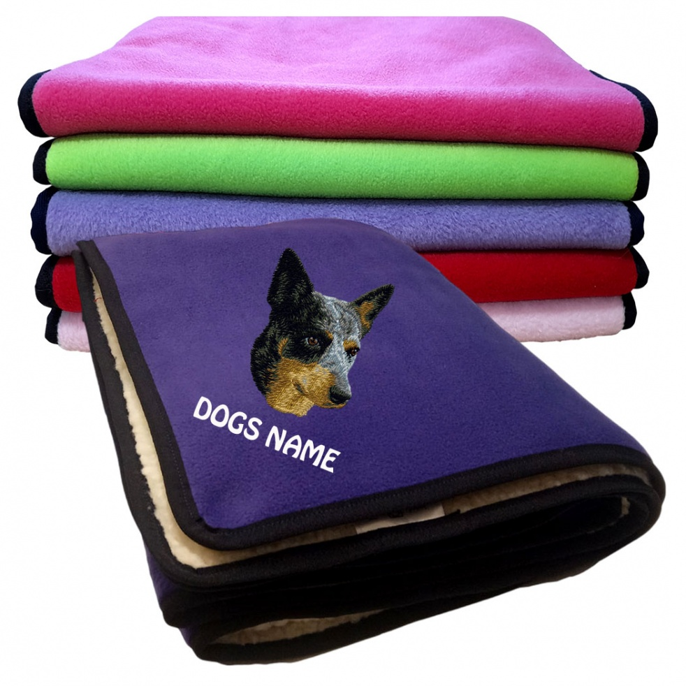Australian Cattle Dog Personalised Luxury Fleece Dog Blankets Plain Colours