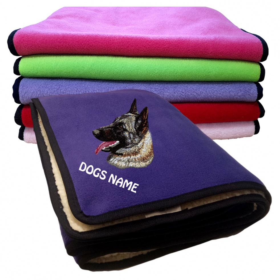 Belgian Shepherd Personalised Luxury Fleece Dog Blankets Plain Colours