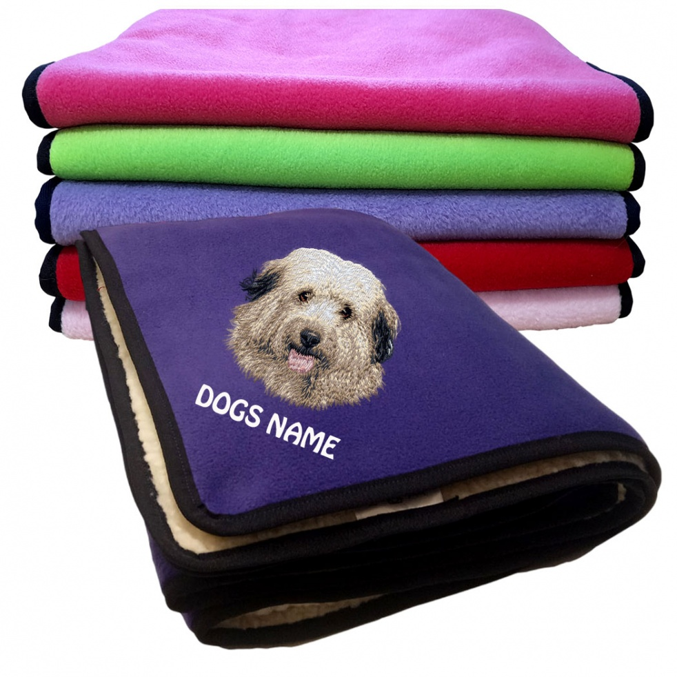 Berger Des Pyrenees Personalised Luxury Fleece Dog Blankets Plain Colours