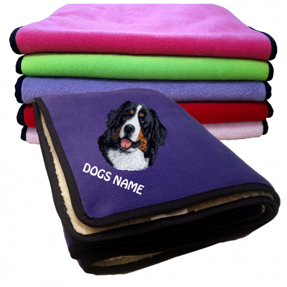 Bernese Mountain Dog Personalised Luxury Fleece Dog Blankets Plain Colours