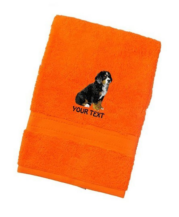 Bernese Mountain Dog Personalised Dog Towels Luxury Range - Hand Towel