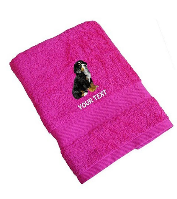Bernese Mountain Dog Personalised Dog Towels Standard Range - Hand Towel