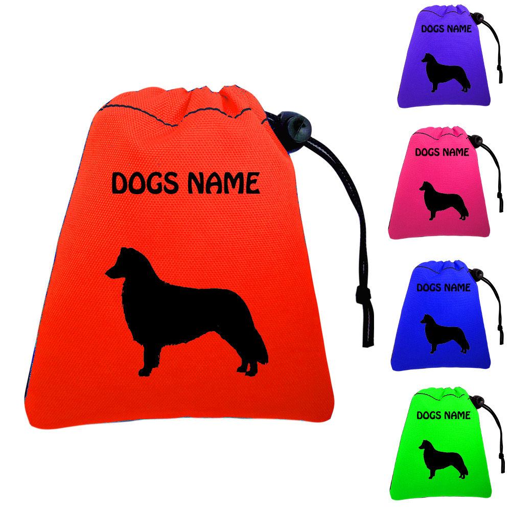 Border Collie Personalised Dog Training Treat Bags - Pocket Version - Silhouette
