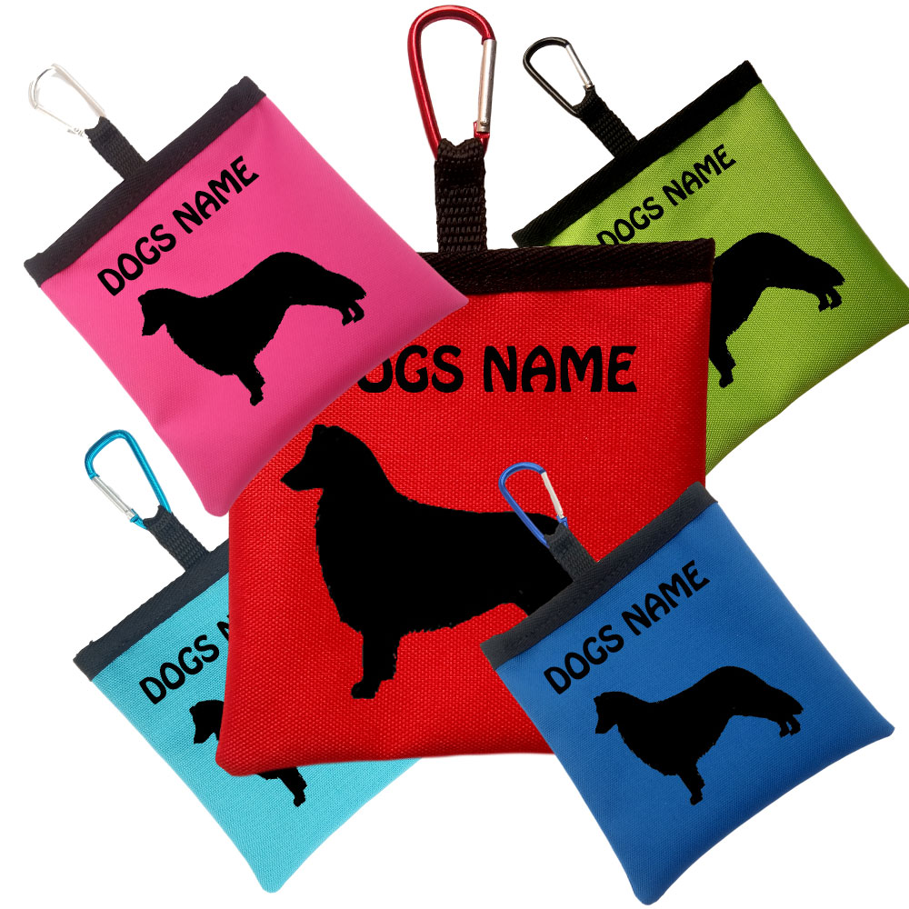 Border Collie Personalised Pooh Bag Holder With Carabiner
