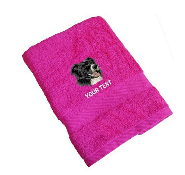 Border Collie Personalised Dog Towels Standard Range - Face Cloth
