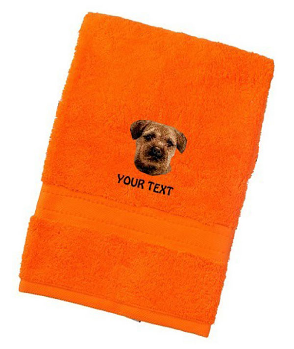 Border Terrier Personalised Dog Towels Luxury Range