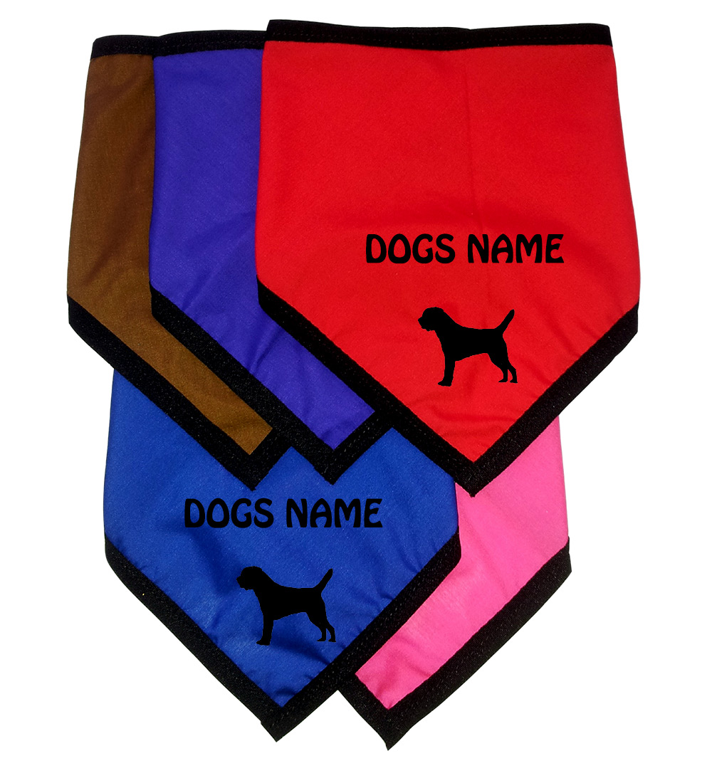 Border Terrier Personalised Dog Bandanas - Tie On