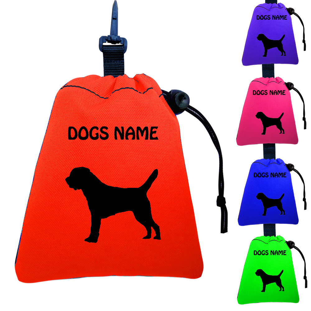 Border Terrier Personalised Training Treat Bags - Clips To Dog Lead
