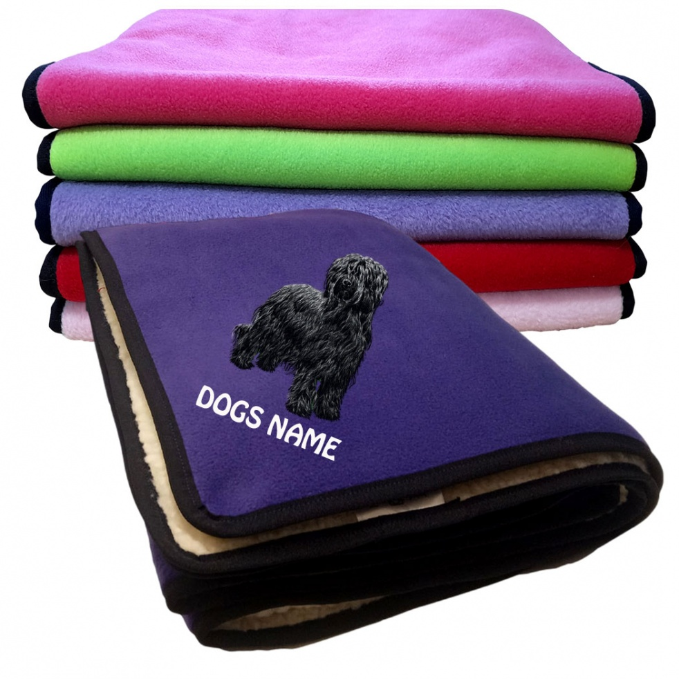 Briard Personalised Luxury Fleece Dog Blankets Plain Colours