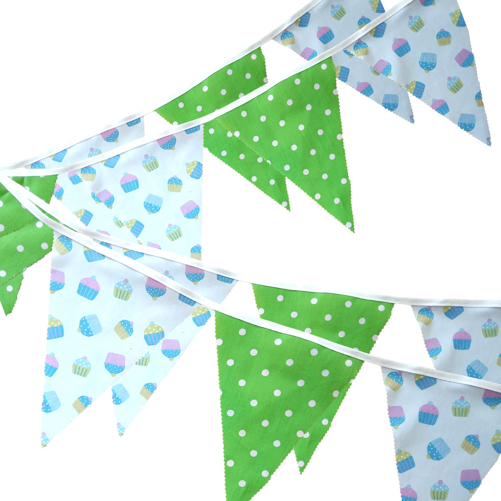 Bunting - Cupcake & Lime Dots - 12 Flags - 10 ft length ( 3 metres)