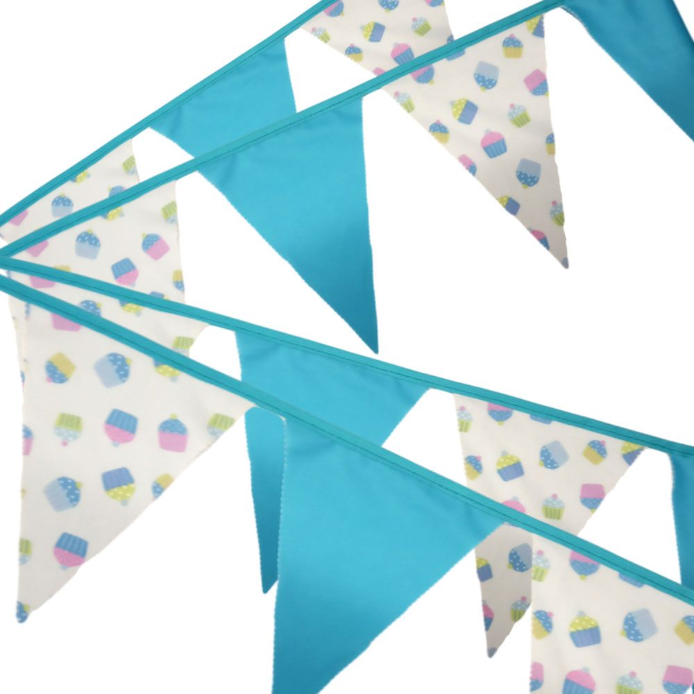 Bunting - Cupcake & Turquoise - 12 Flags - 10 ft length ( 3 metres)