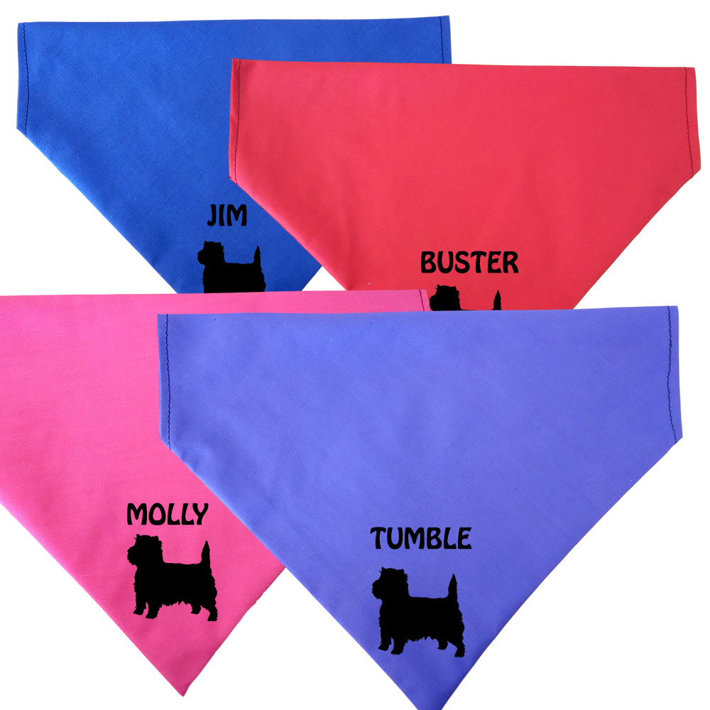 Cairn Terrier Personalised Dog Bandanas - Fit To Collar