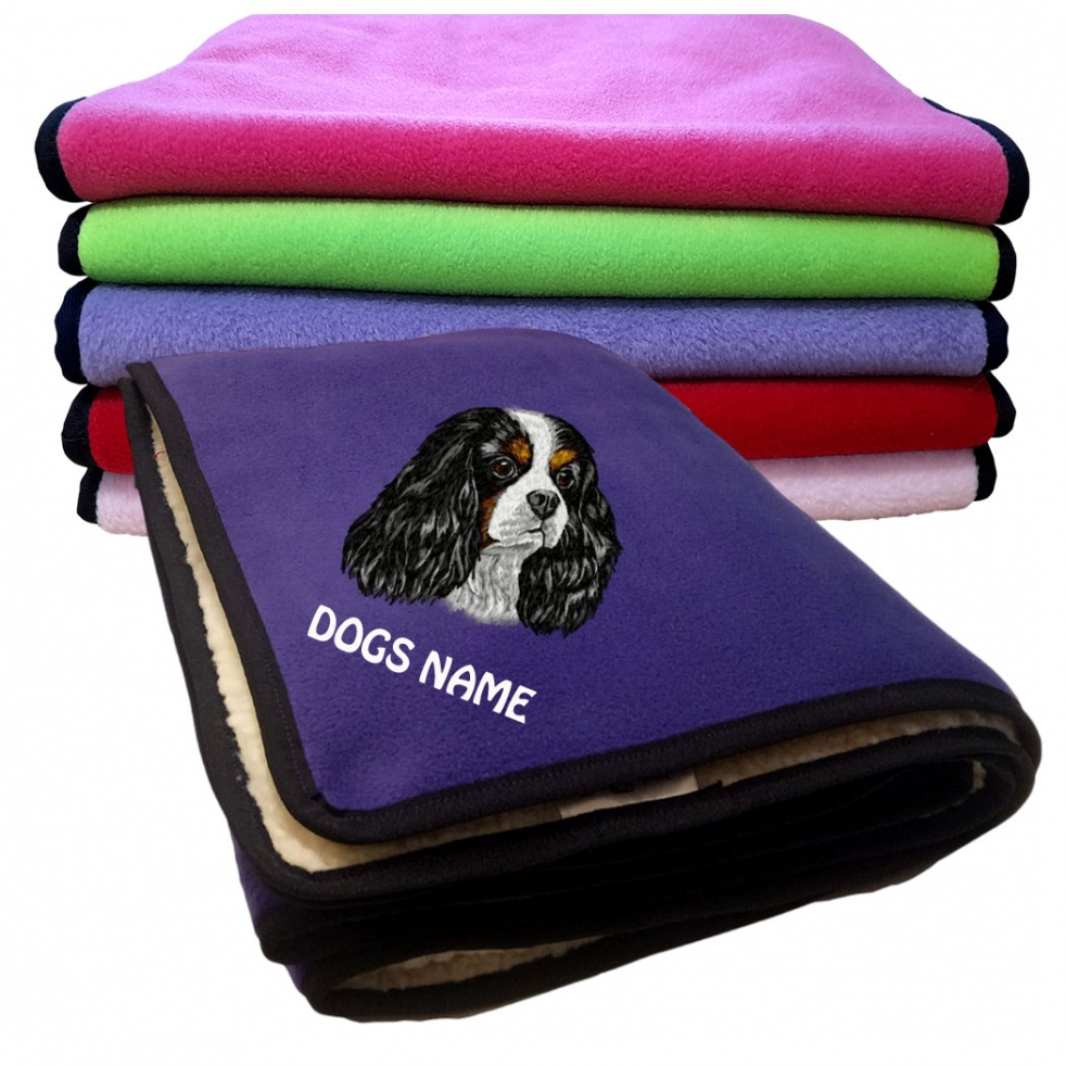 Cavalier King Charles Spaniel Personalised Luxury Fleece Dog Blankets Plain Colours