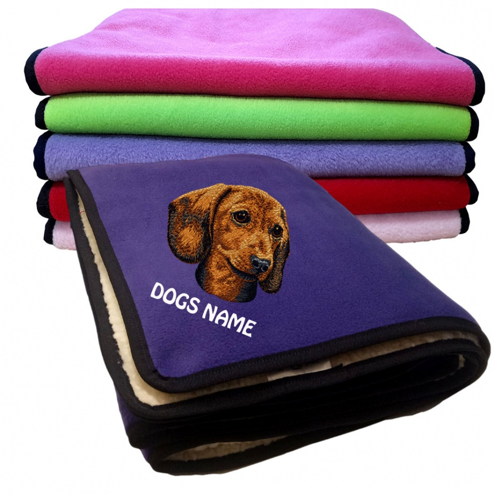 Dachshund Personalised Luxury Fleece Dog Blankets Plain Colours