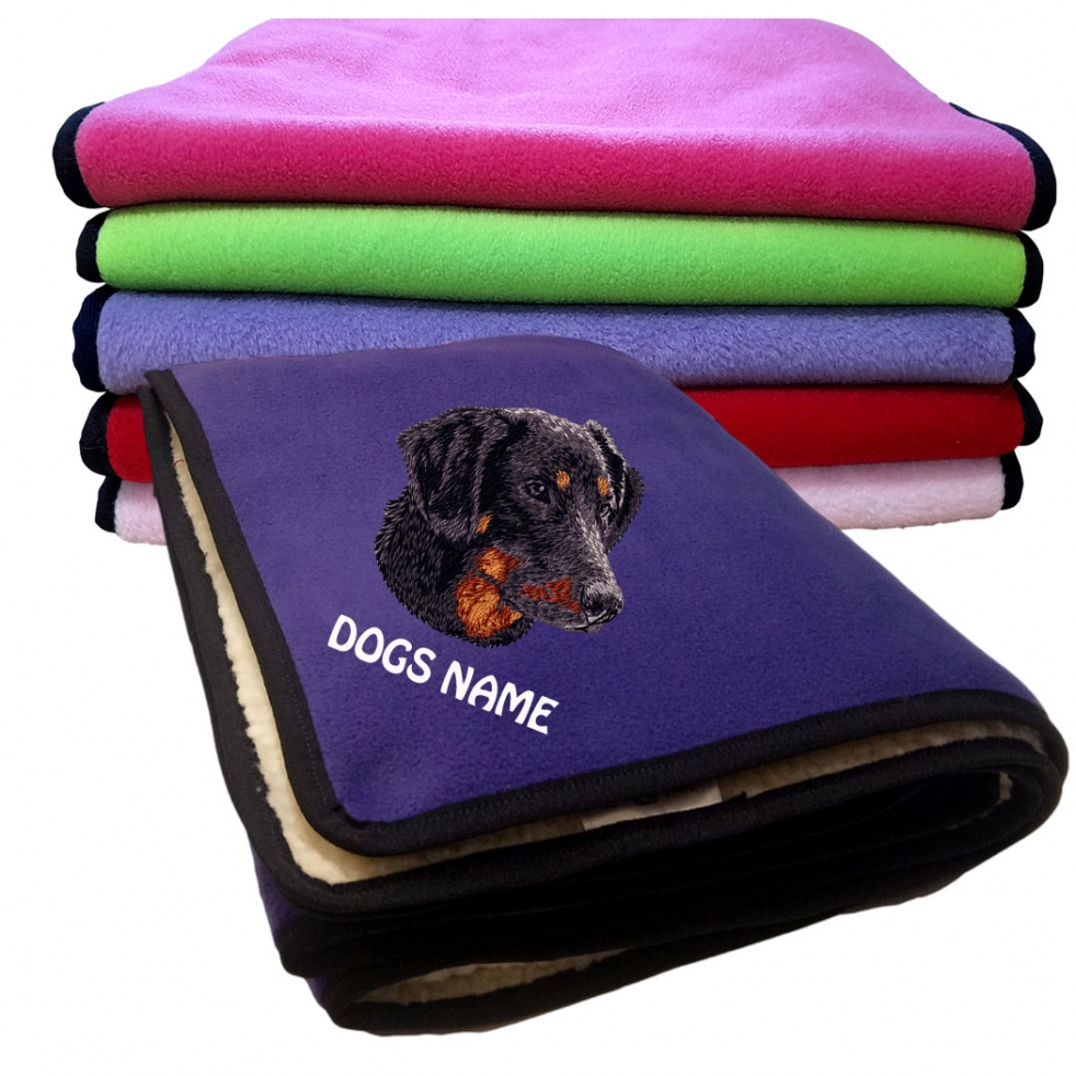 Doberman Personalised Luxury Fleece Dog Blankets Plain Colours