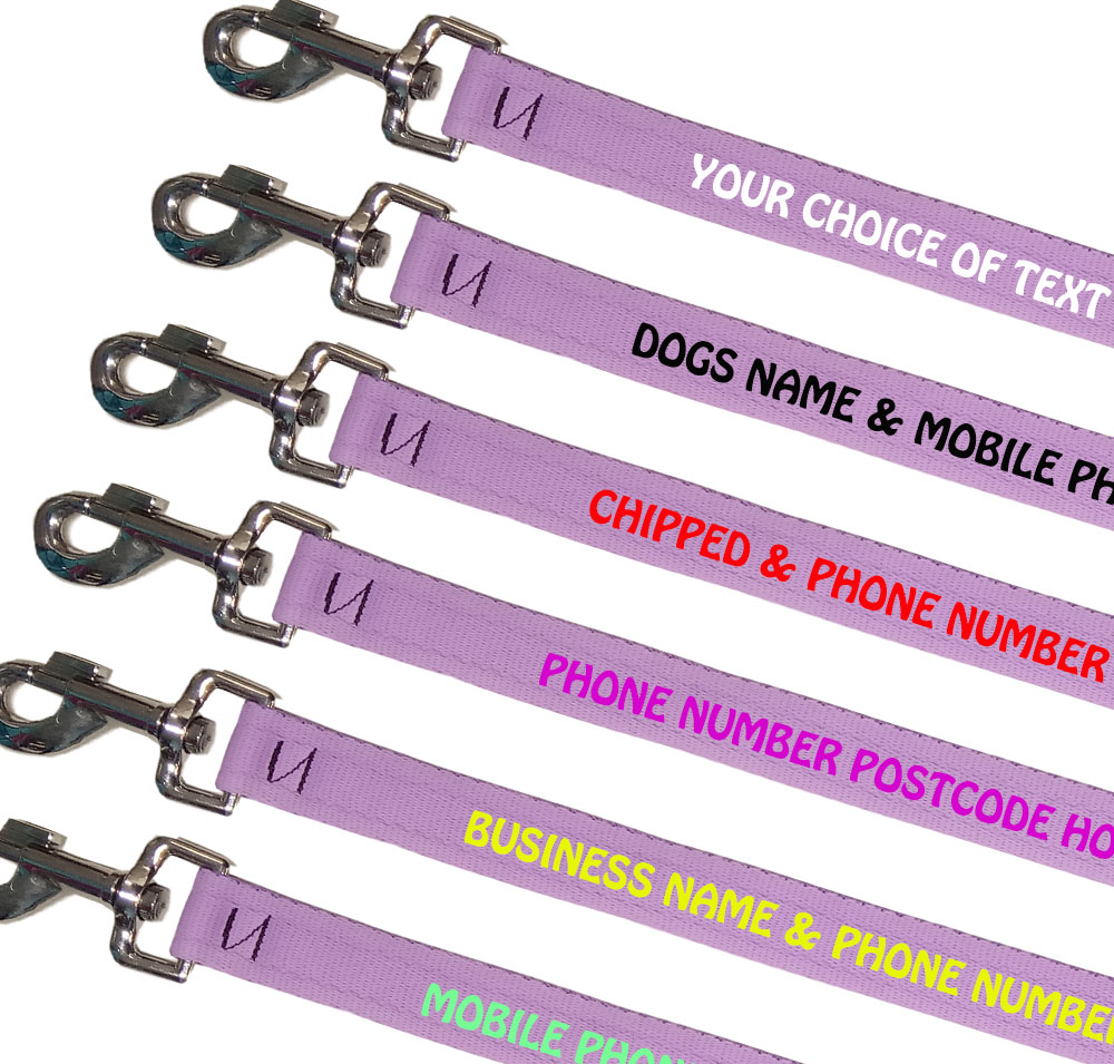 Embroidered Dog Leads Lightweight Range - Lilac