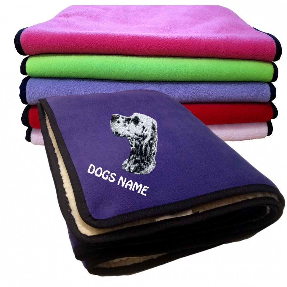 English Setter Personalised Luxury Fleece Dog Blankets Plain Colours