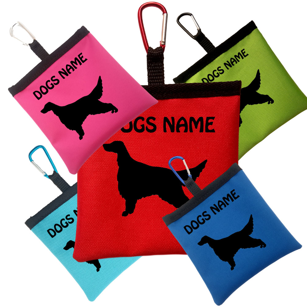 English Setter Personalised Pooh Bag Holder With Carabiner