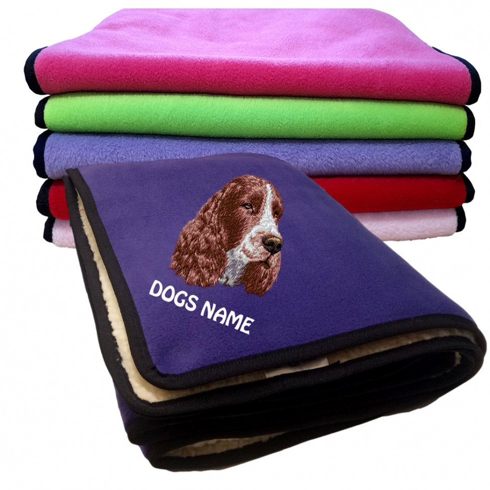 English Springer Spaniel Personalised Luxury Fleece Dog Blankets Plain Colours