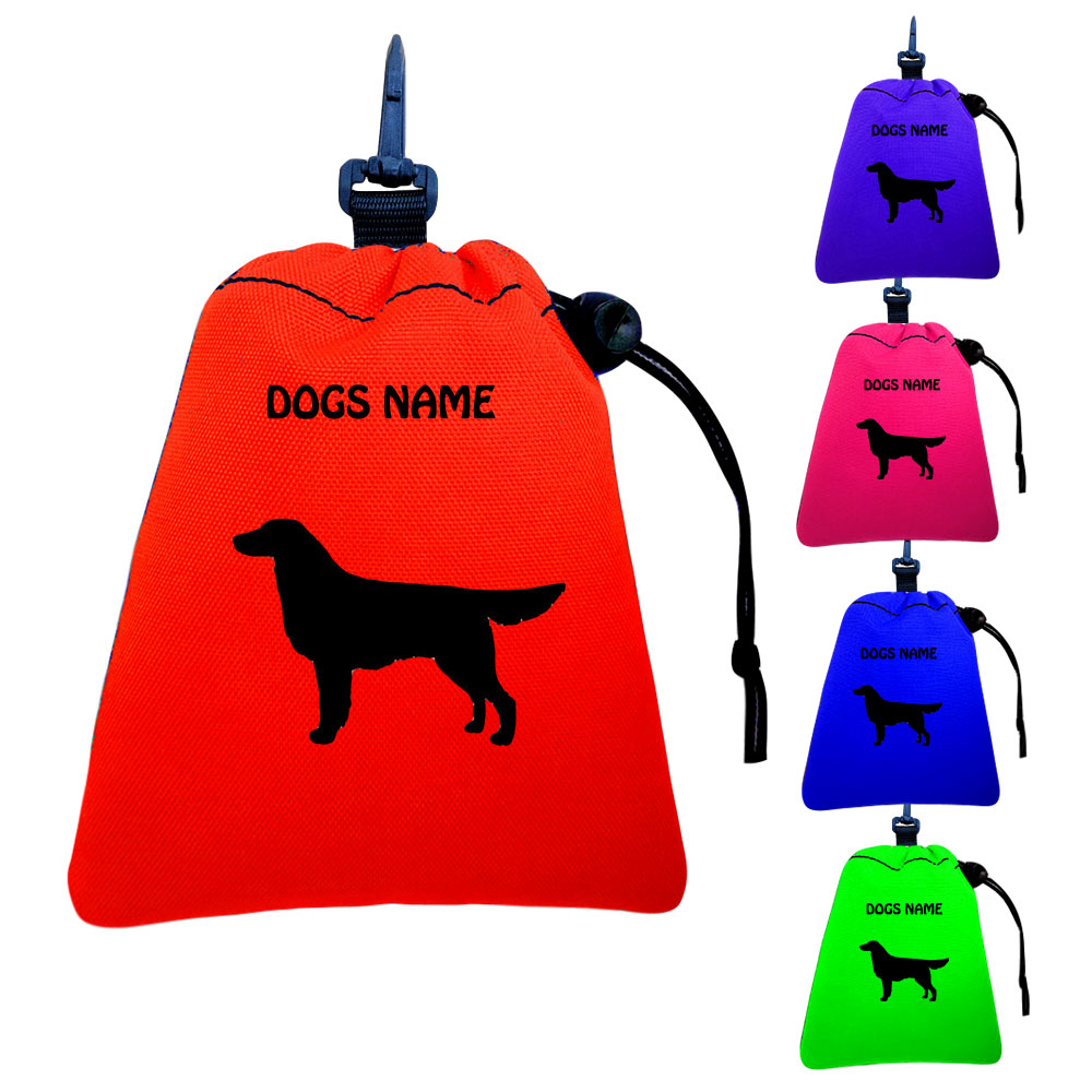 Flat Coated Retriever Personalised Training Treat Bags - Clips To Dog Lead