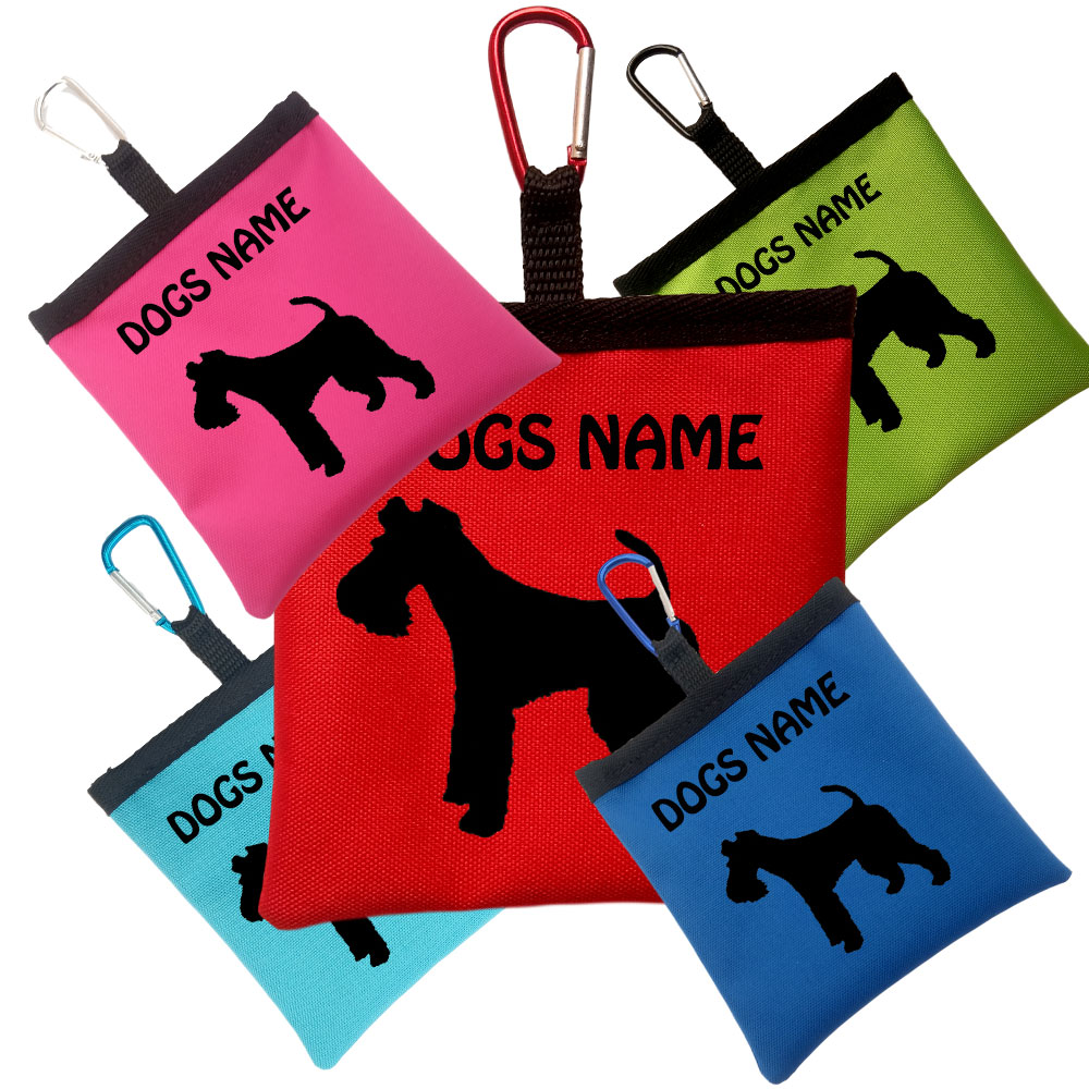 Fox Terrier Personalised Pooh Bag Holder With Carabiner