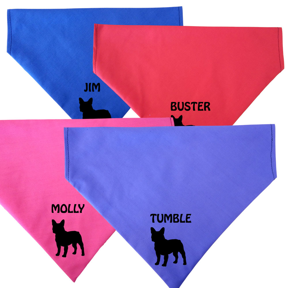 French Bulldog Personalised Dog Bandana - Fit To Collar