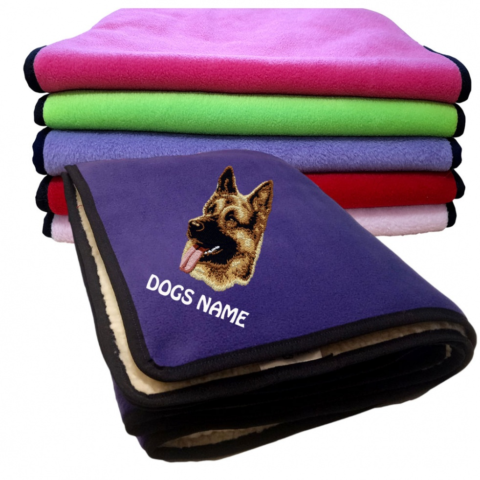 German Shepherd Personalised Luxury Fleece Dog Blankets Plain Colours