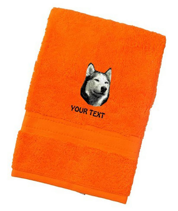Husky Personalised Dog Towels Luxury Range