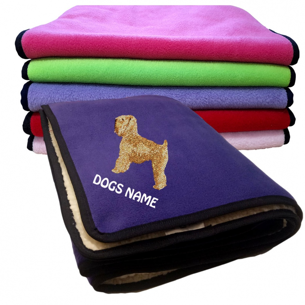 Irish Soft Coated Wheaten Terrier Personalised Luxury Fleece Dog Blankets Plain Colours