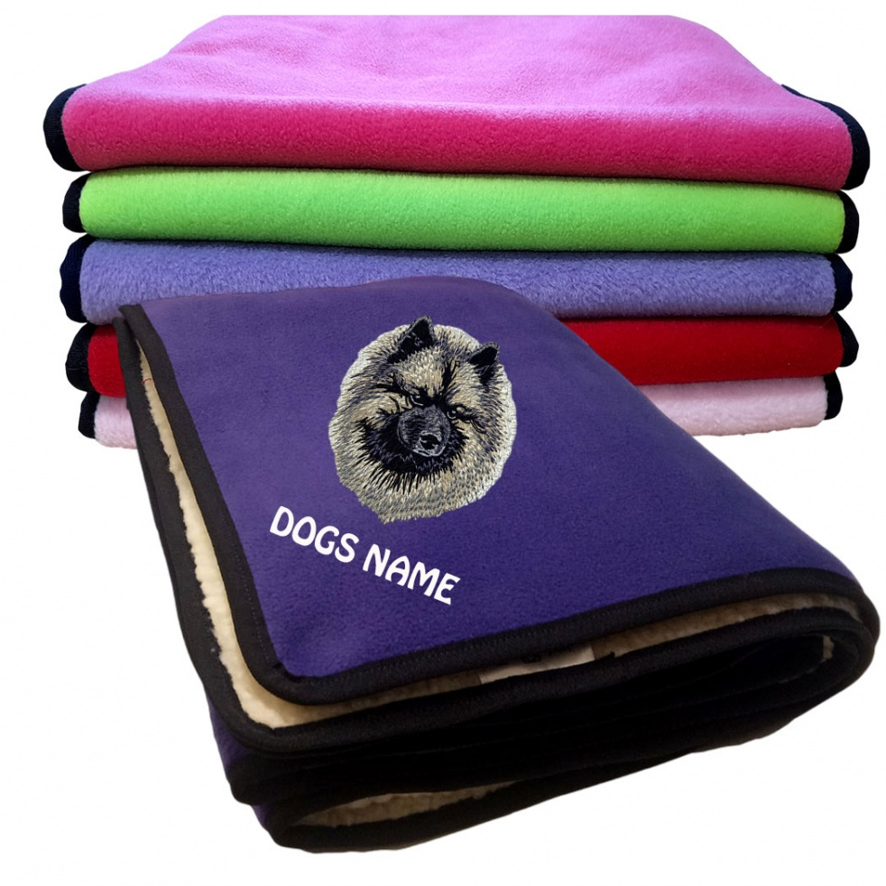 Keeshond Personalised Luxury Fleece Dog Blankets Plain Colours