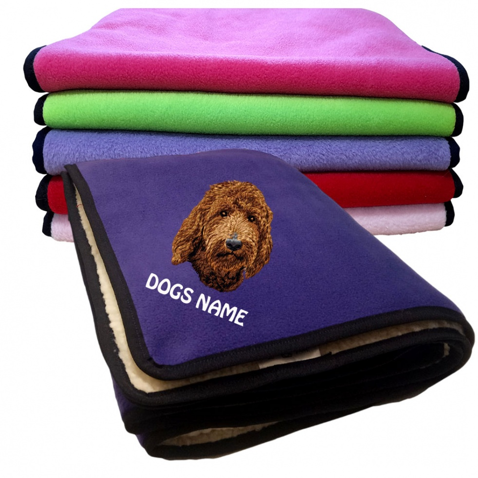 Labradoodle Personalised Luxury Fleece Dog Blankets Plain Colours