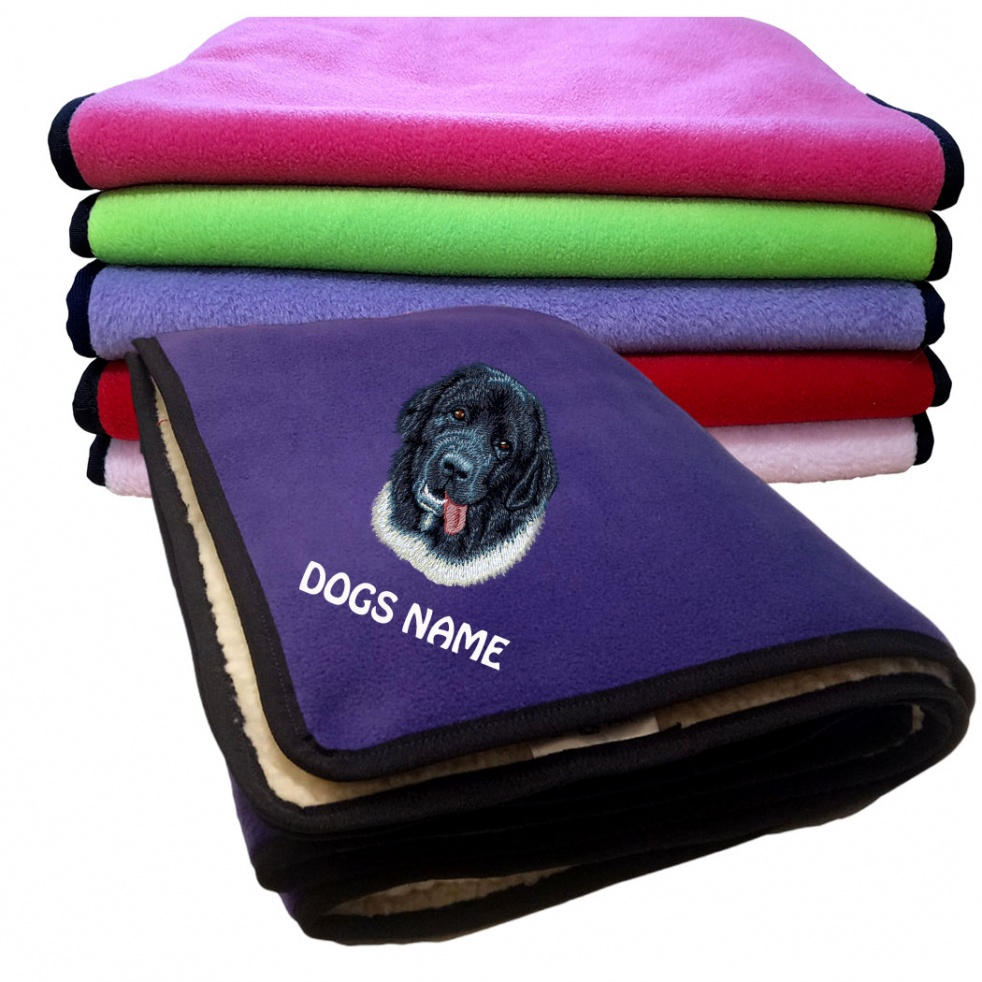 Landseer Personalised Luxury Fleece Dog Blankets Plain Colours