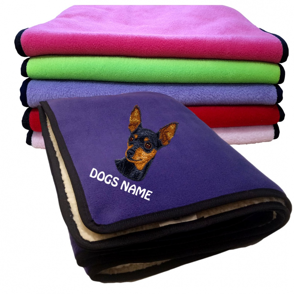 Miniature Pincher Personalised Luxury Fleece Dog Blankets Plain Colours