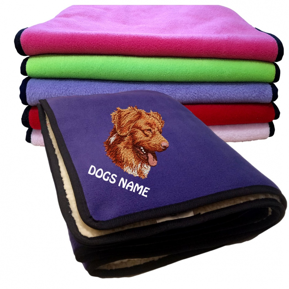 Nova Scotia Duck Tolling Retriever Personalised Luxury Fleece Dog Blankets Plain Colours