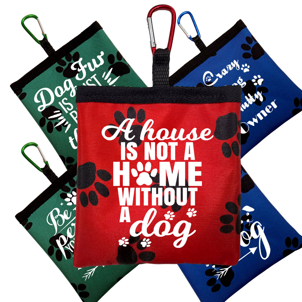 Personalised Funny Dog Quotes Pooh Bag Holder & Carabiner - Paw Print Design
